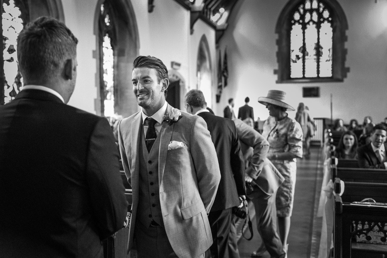 Groom waiting at Radyr Church