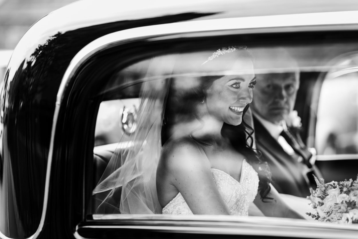 Brides arrives at Wedding at Christ Church in Radyr