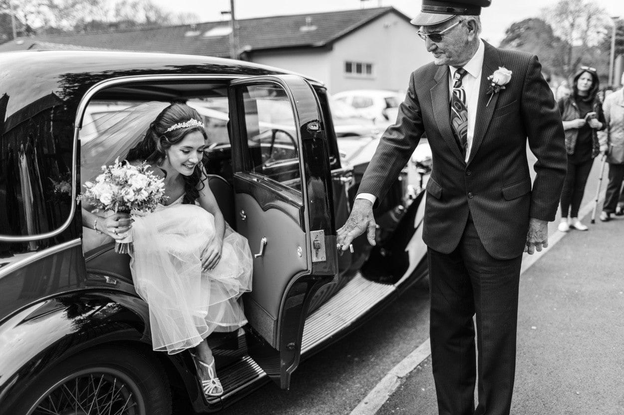 Brides arrives at Wedding at Christ Church in Radyr