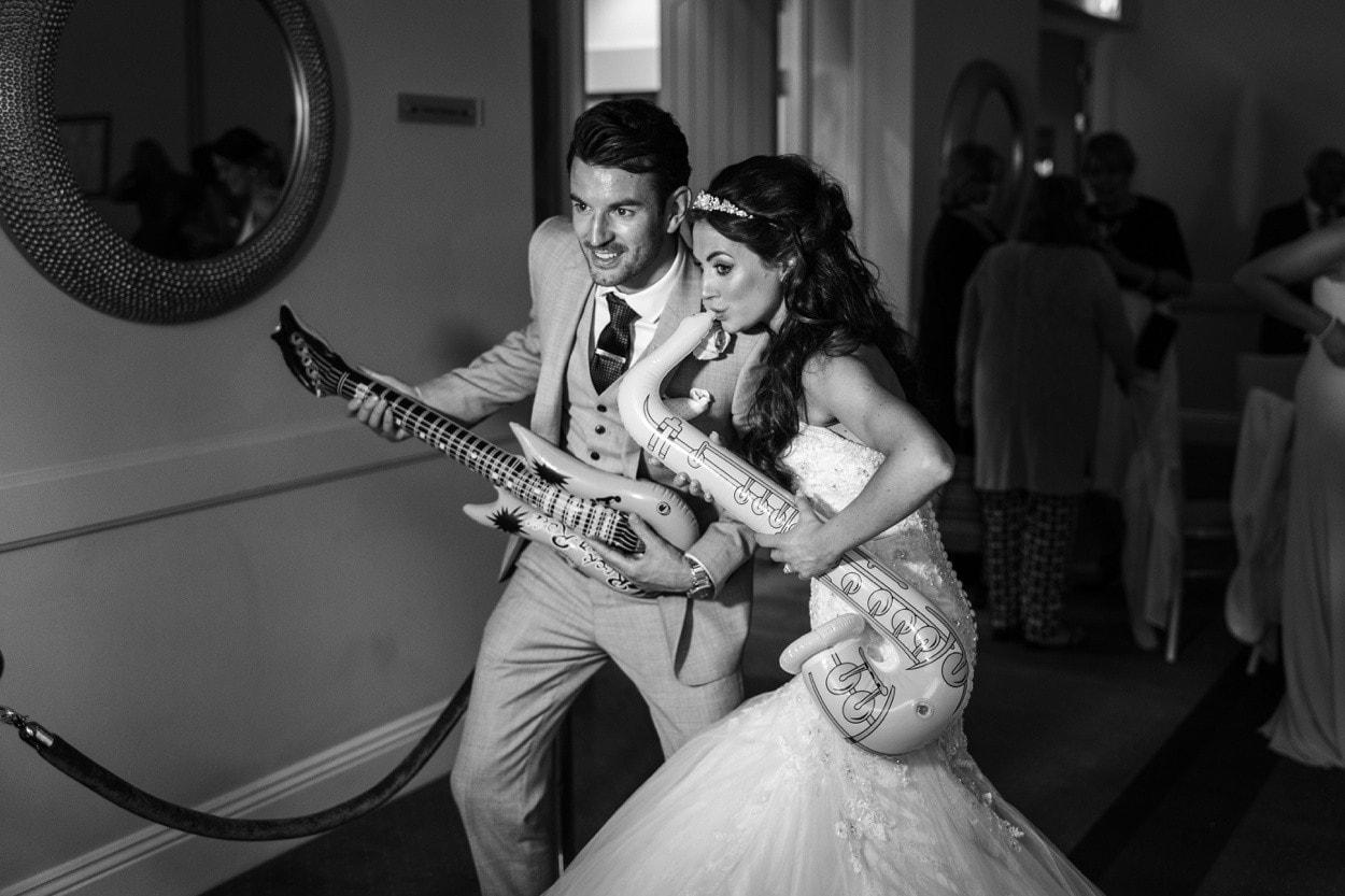 Evening wedding reception at Hensol Castle