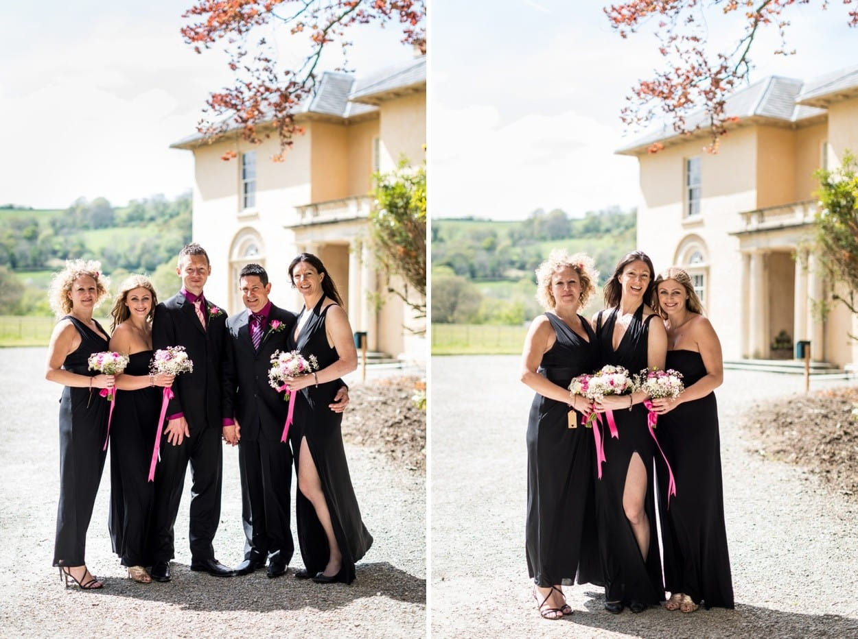 bridesmaid in black dress at Llanerchaeron