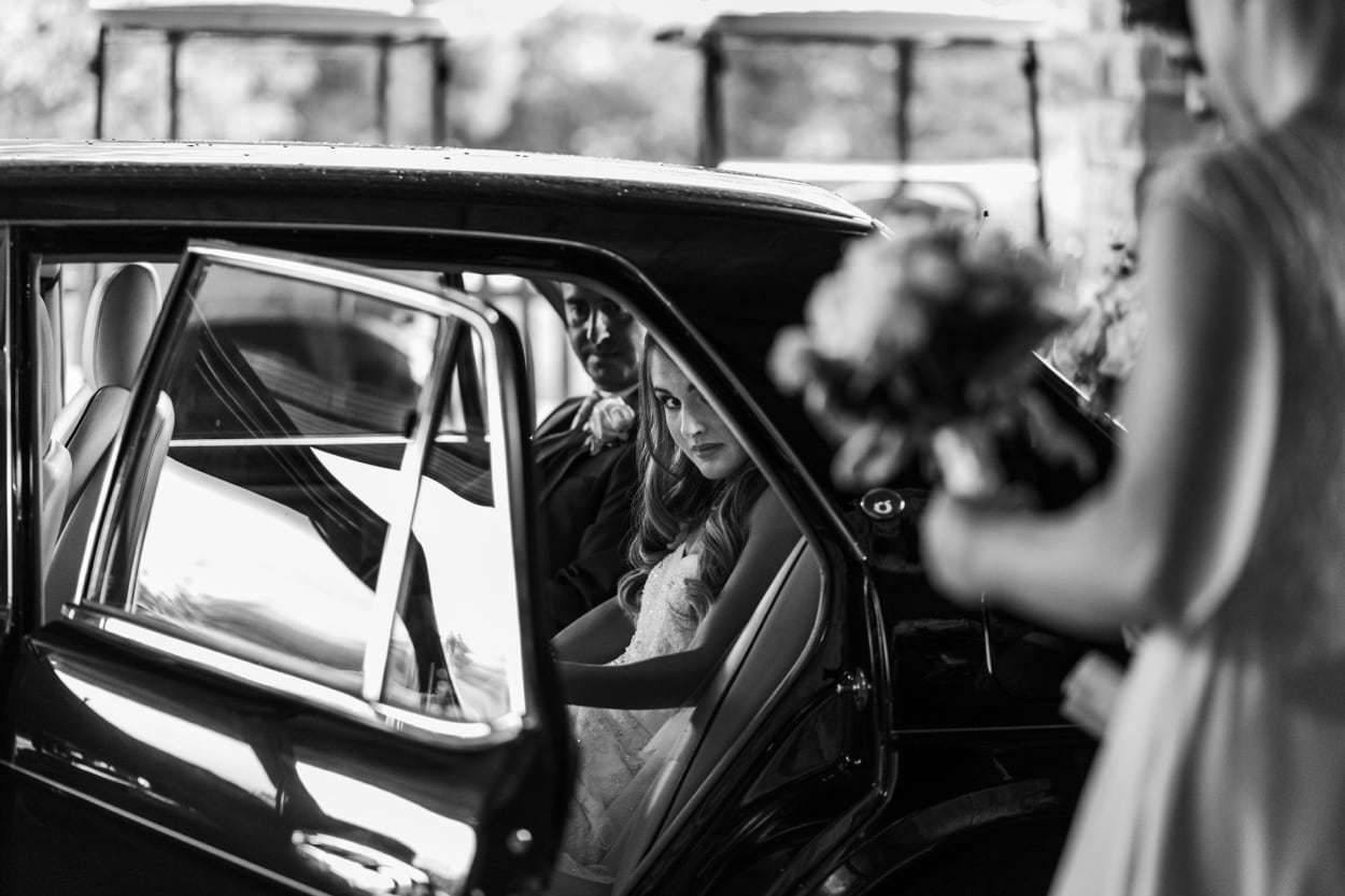 Bride in car at Celtic Manor