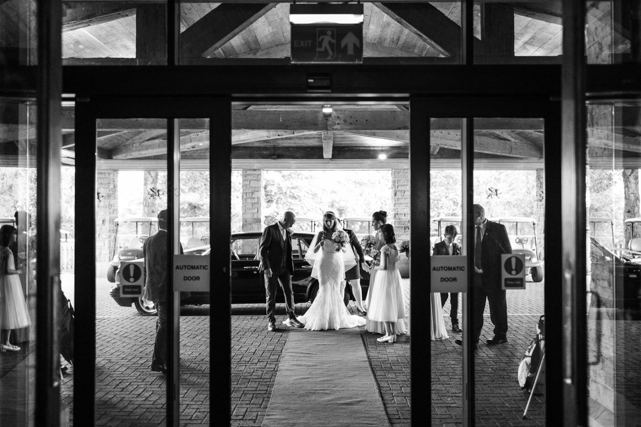 Bride arrives at The Lodge, Celtic Manor