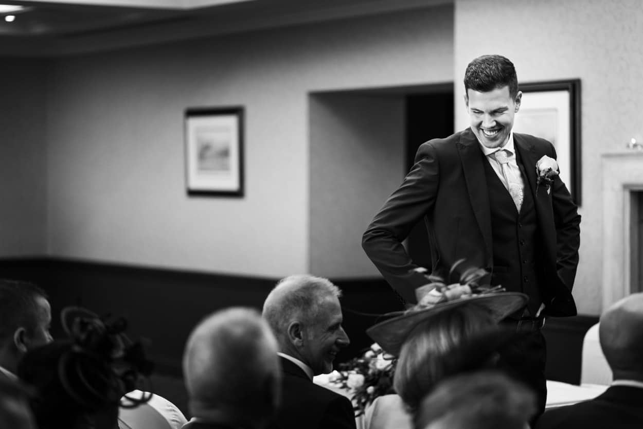 Groom waiting at The Lodge, Celtic Manor