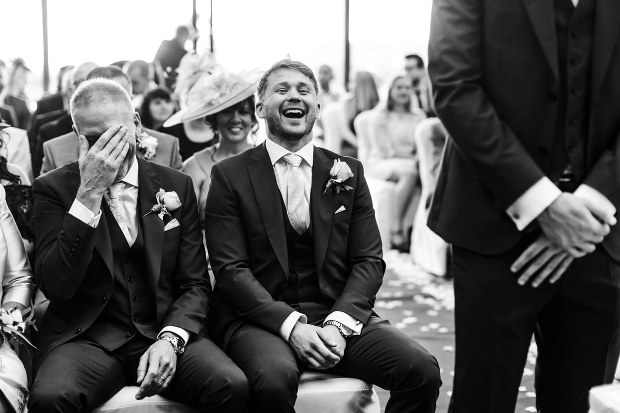 Best man laughing at The Lodge, Celtic Manor