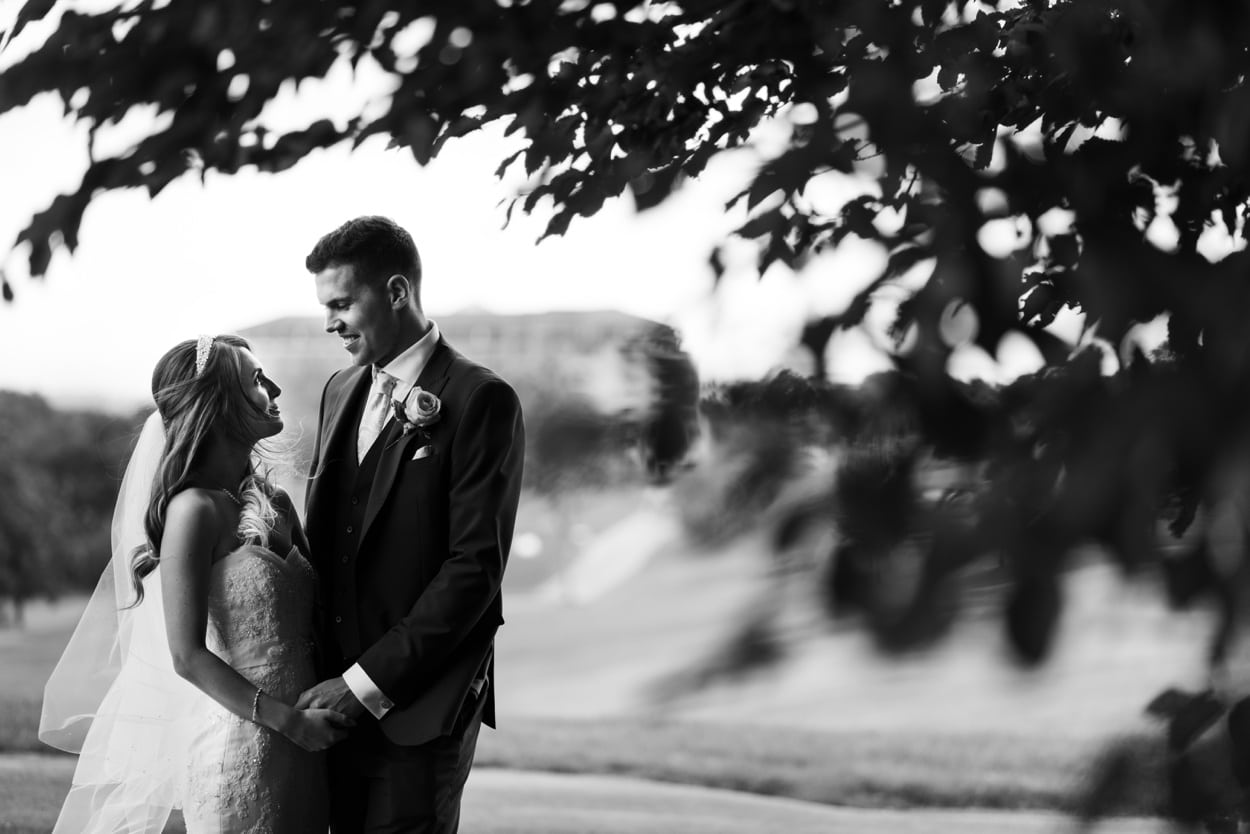 Bride and groom at The Lodge, Celtic Manor