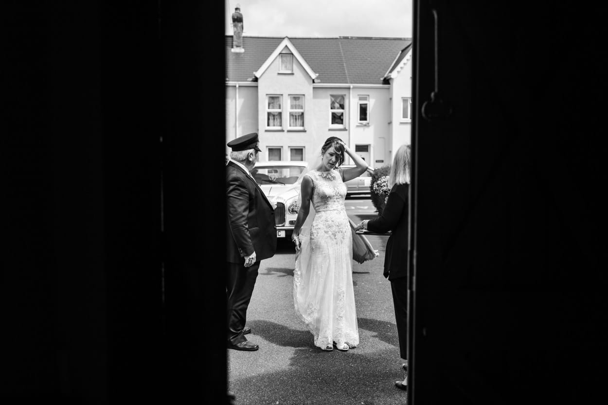 Bride arriving at Holy Name Church in Fishguard