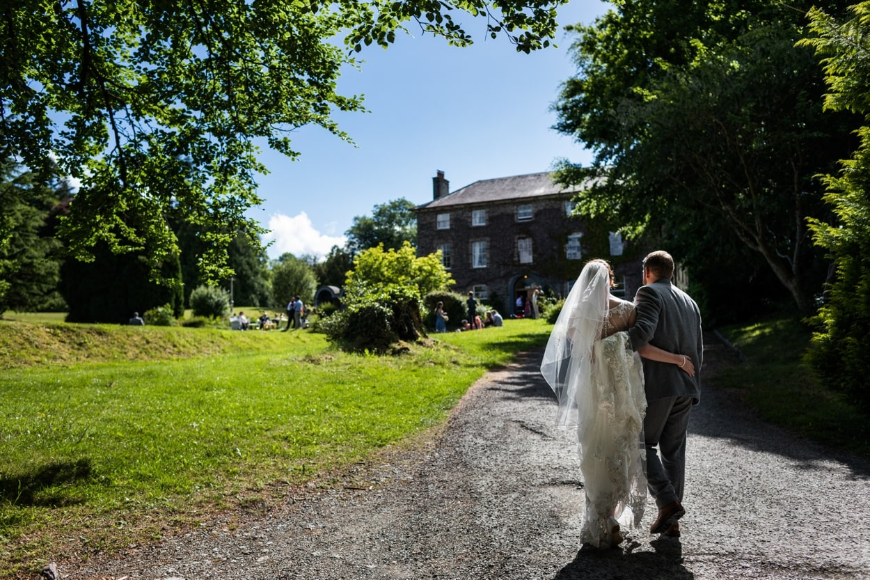Bride and groom portraits  at Hammet House wedding in  West Wales