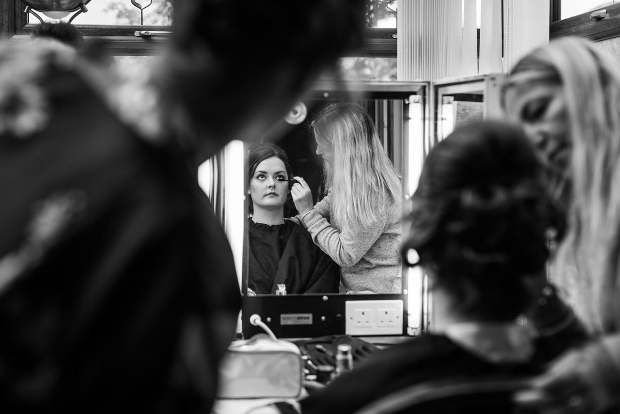 bride make up in mirror
