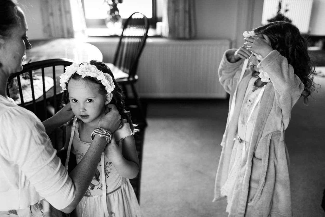 Flower girl getting dressed