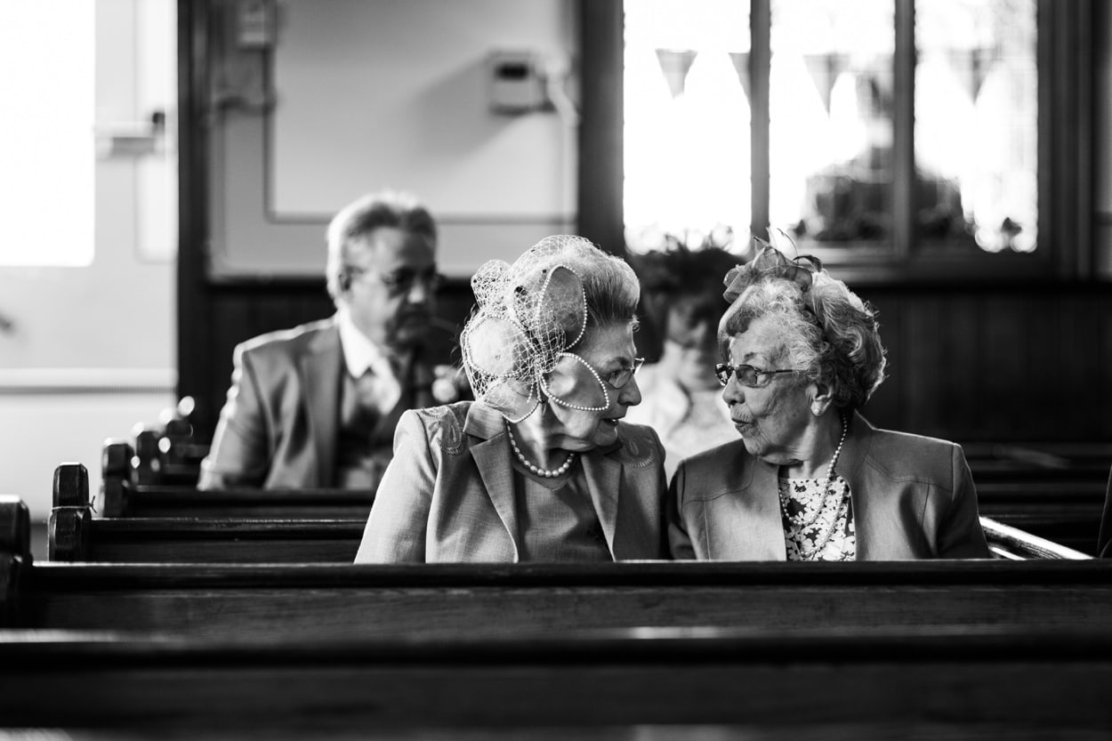 Old women chatting at church
