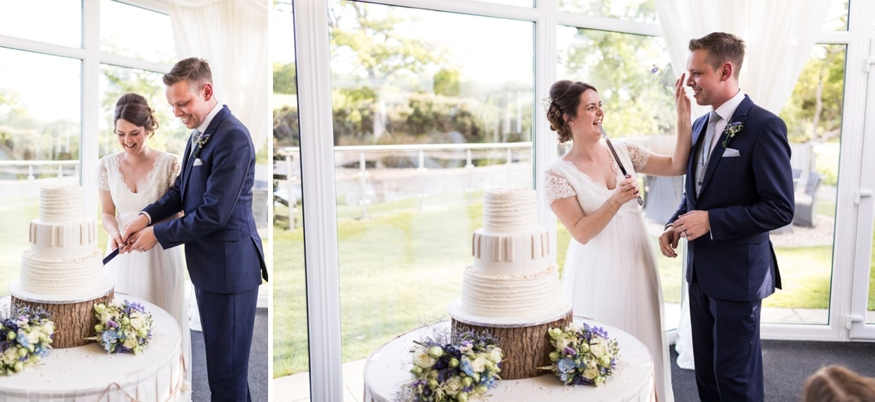 Wedding cake cutting at Oldwalls