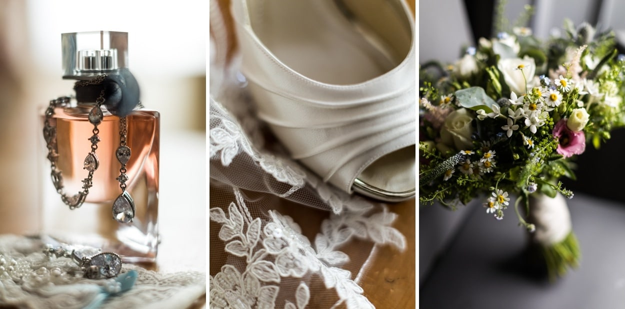 wedding day bridal details for Woodhouse Barn