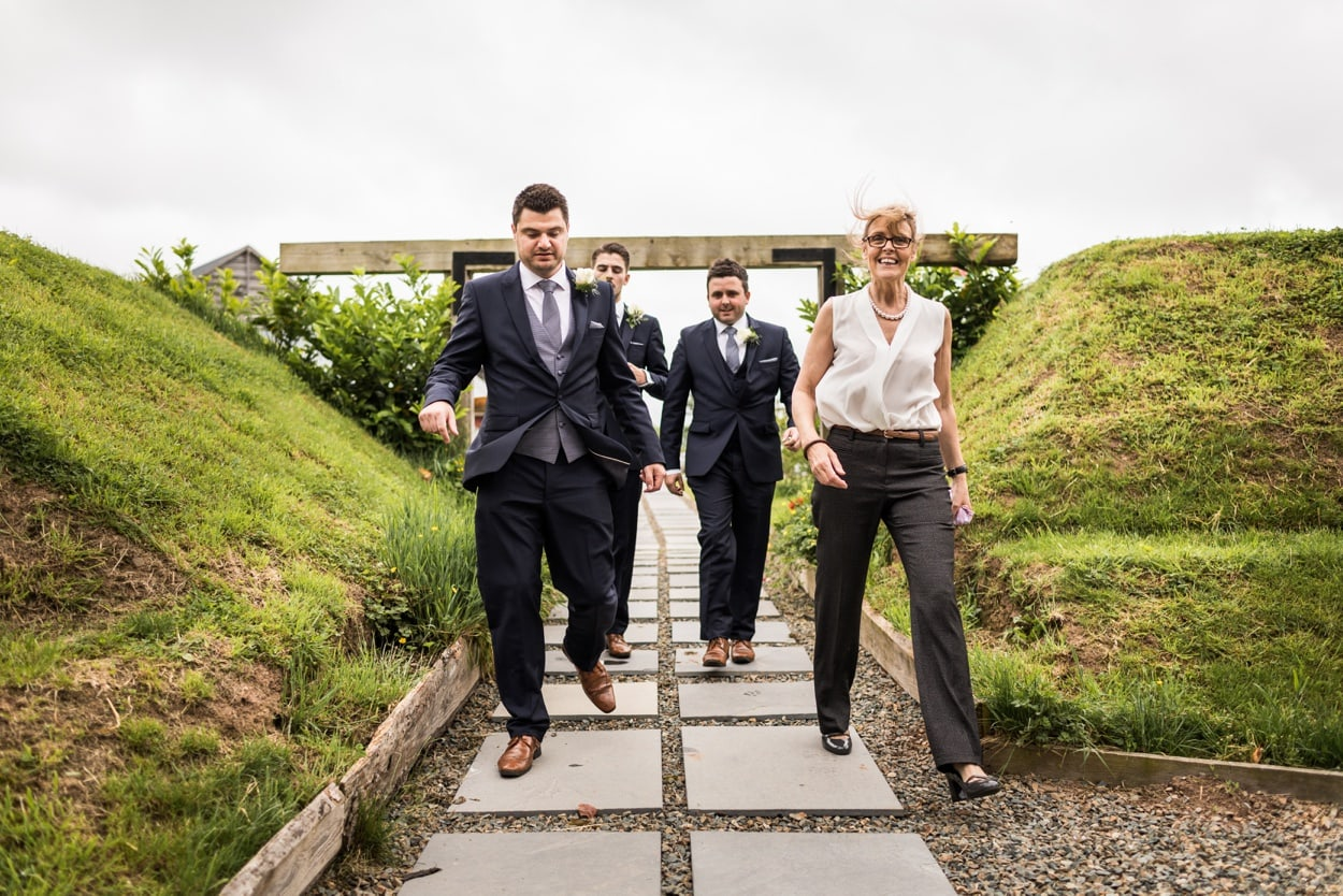 Groom arrives Woodhouse Barn in Pembrokeshire
