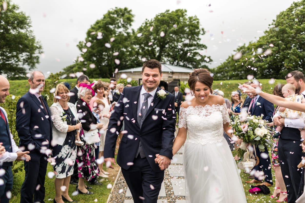 Wedding ceremony at Hen House, Woodhouse Barn