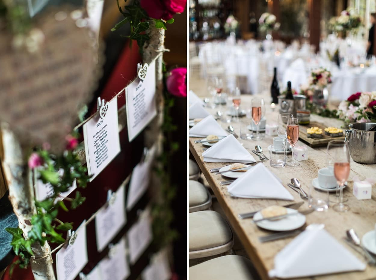 Wedding table decorations at The Corran, Carmarthenshire