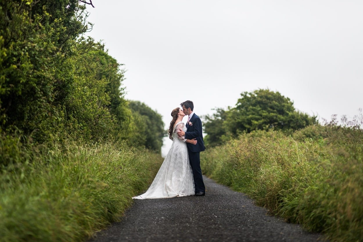 Bride and groom at The Corran, Carmarthenshire
