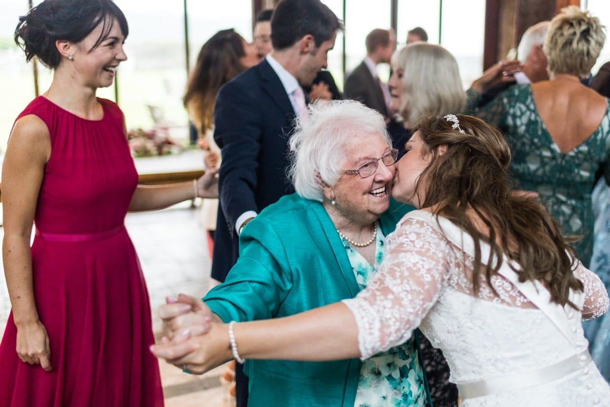 Bride dancing with her grandmother at The Corran, Carmarthenshire