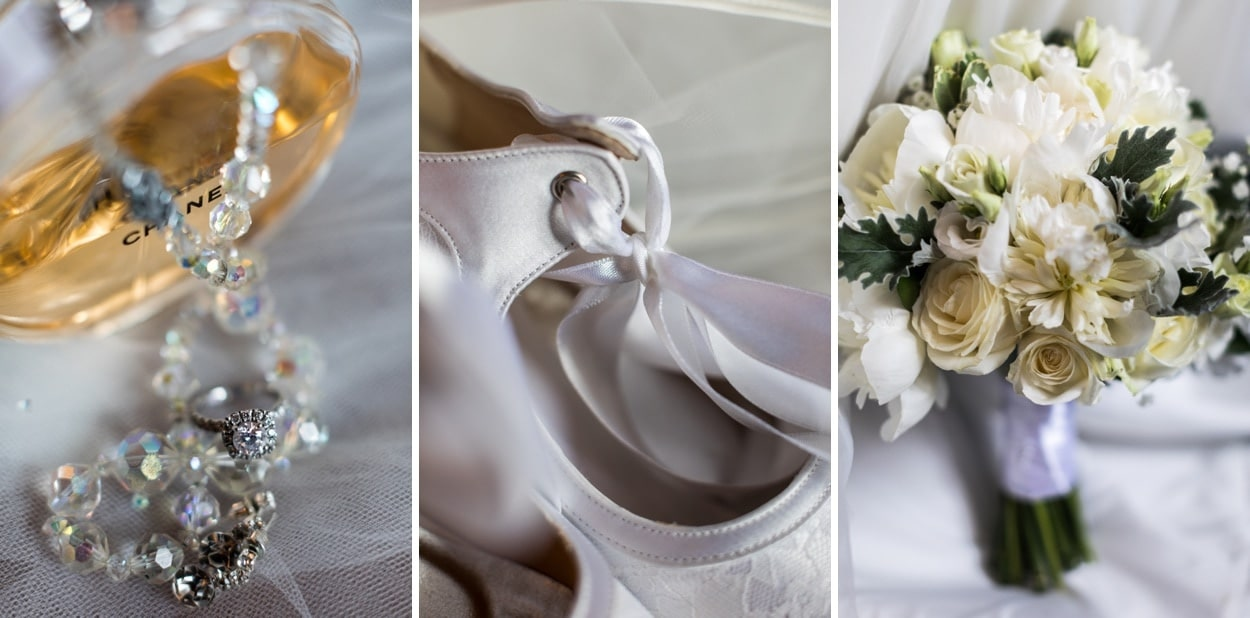 Bridal shoes, flowers and jewellery for Wedding at St Donats Castle