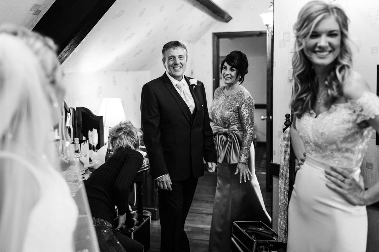Father sees bride in dress for a Wedding at St Donats Castle