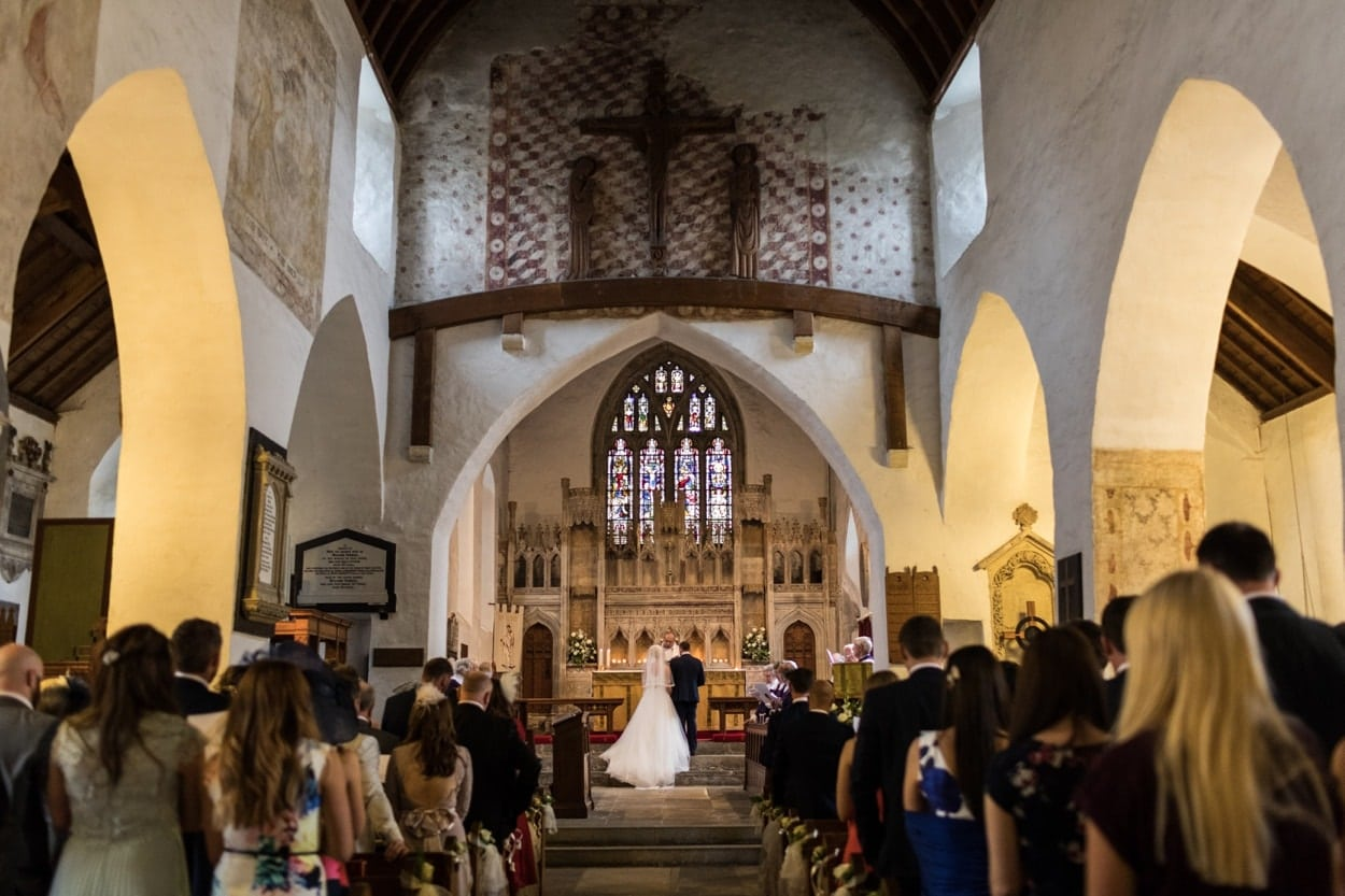 Marriage ceremony at St Illtyds Church in Llantwit Major, South Wales