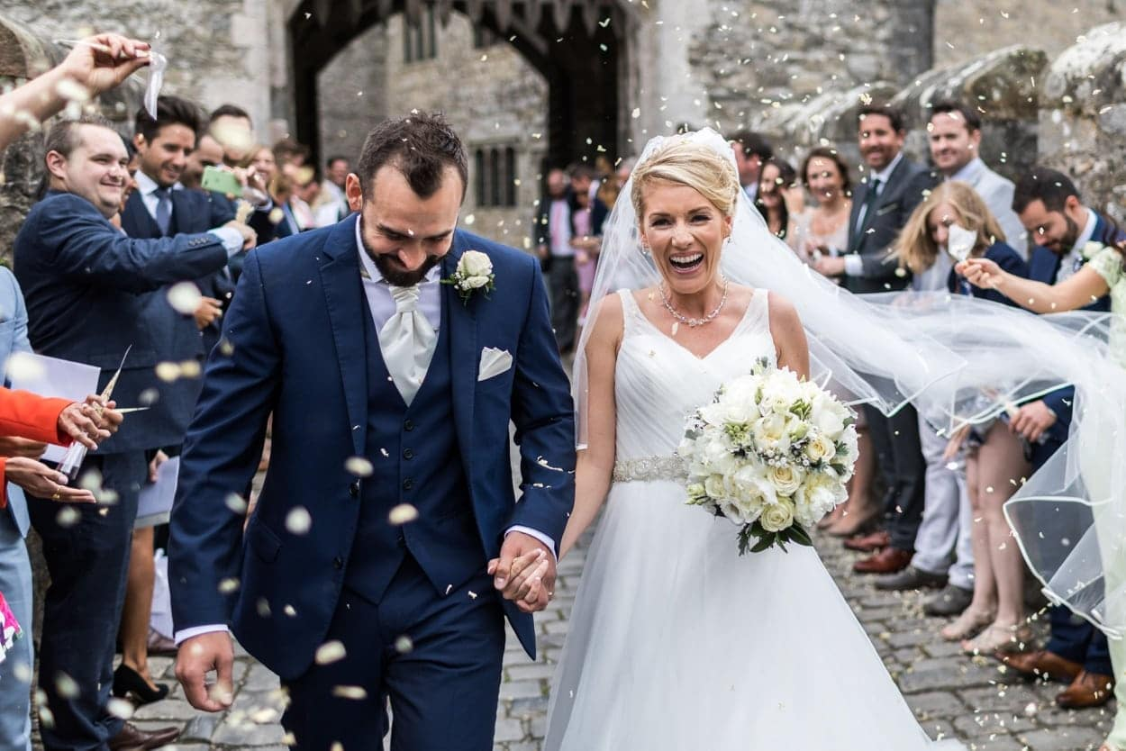 Confetti shot at Wedding at St Donats Castle