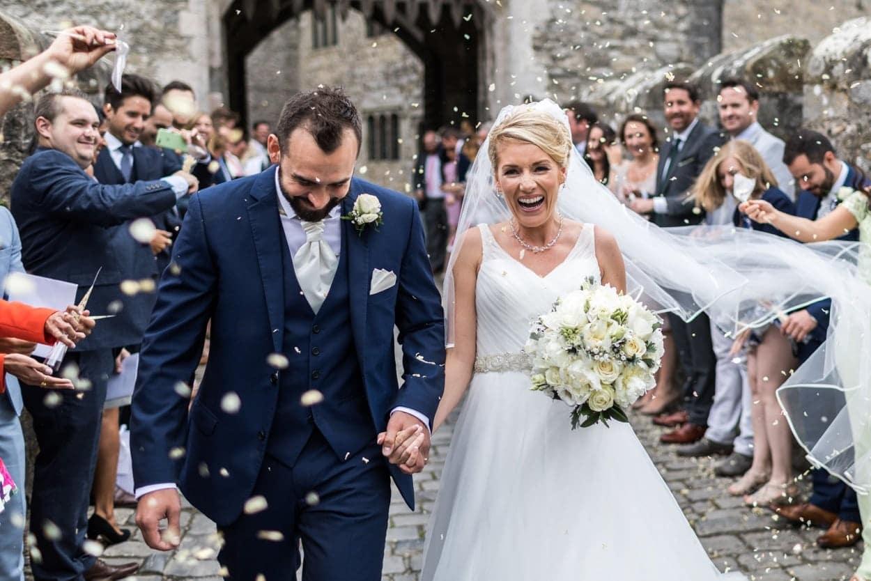 Confetti shot at Wedding at St Donats Castle