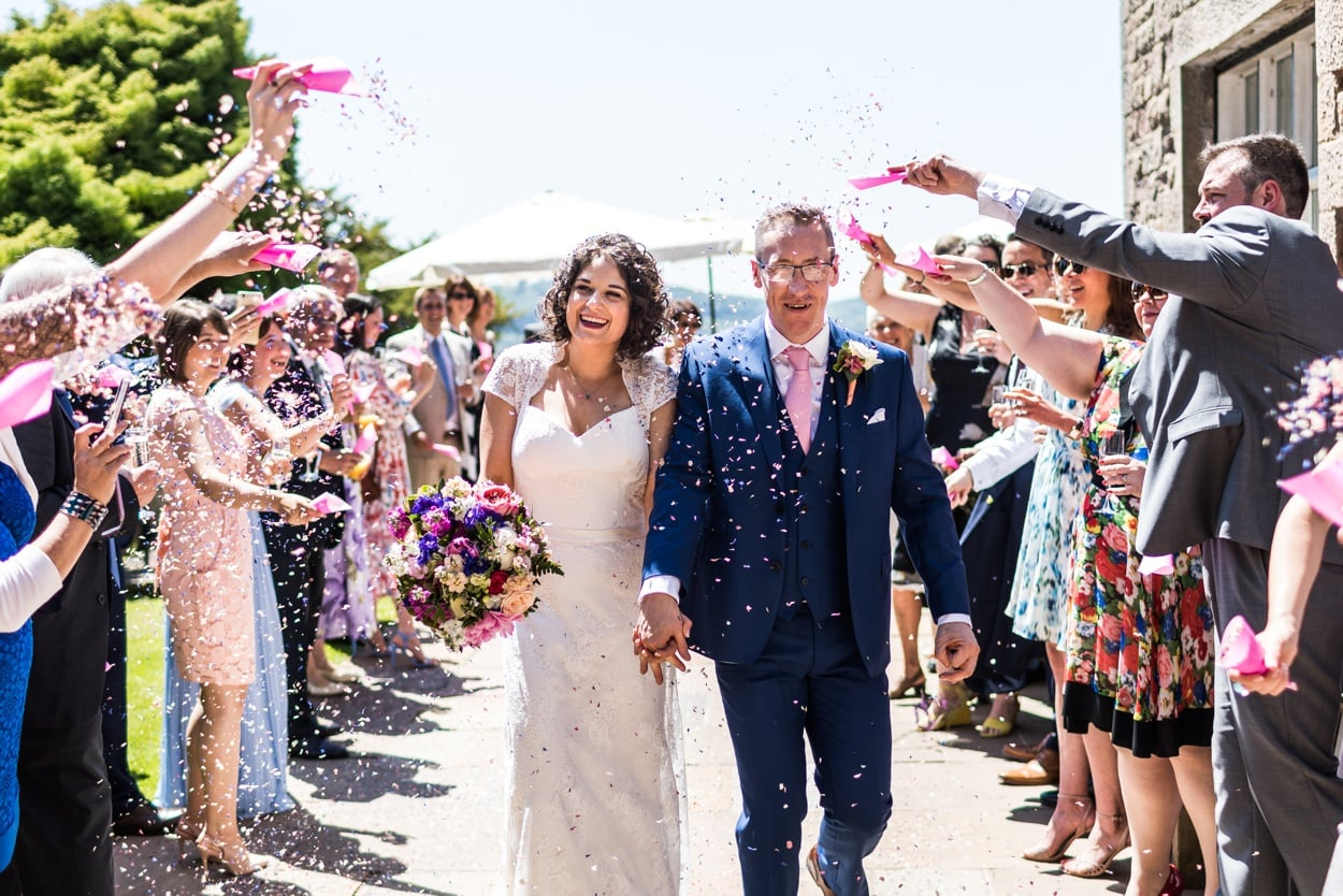 Confetti at summer wedding at Caer Llan