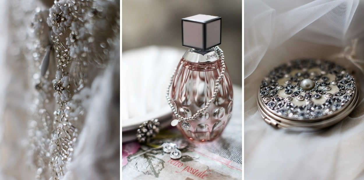 Summer wedding perfume and jewellery for Hensol Castle