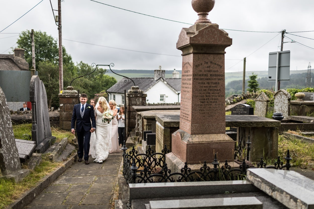 Bride arriving at  Llangynwyd Church in South Wales