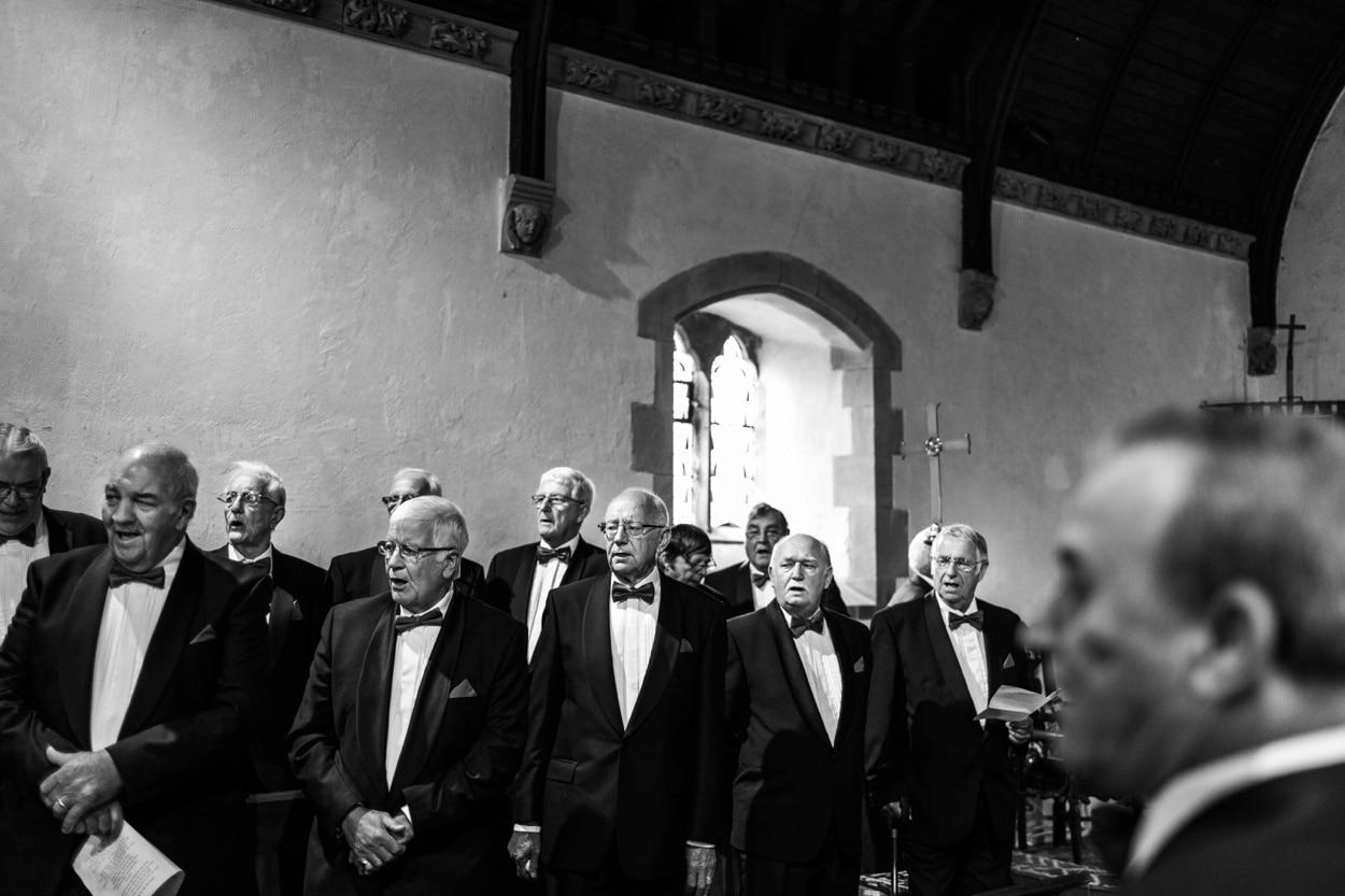 Welsh male voice choir at  Llangynwyd Church in South Wales