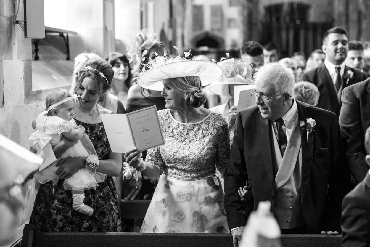 Marriage ceremony at  Llangynwyd Church in South Wales