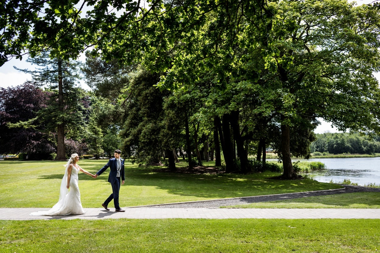 Bride and groom portraits Summertime wedding at Hensol Castle in South Wales