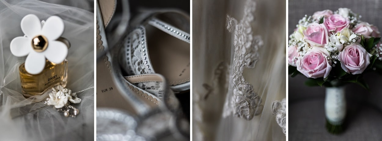 Bridal details for De Courceys Manor Wedding