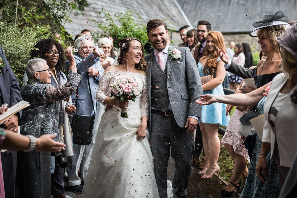 Wedding confetti St Deny's Church in Lisvane, Cardiff