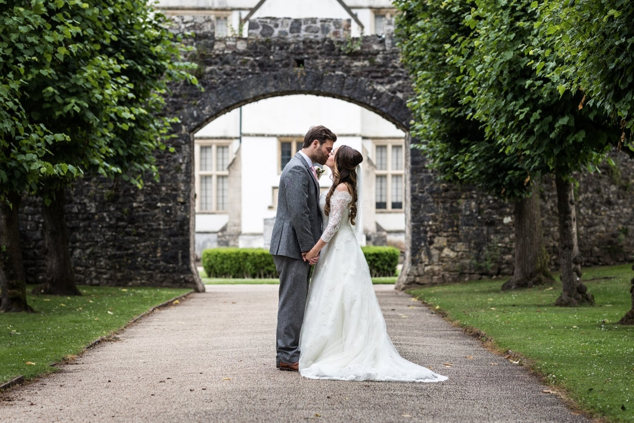 Bride and groom portraits at St Fagans, South Wales