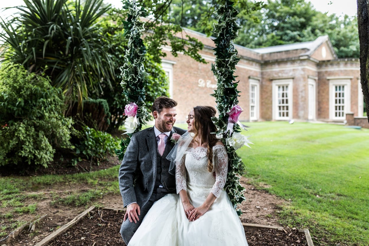 Wedding swing at De Courceys Manor near Cardiff in South Wales