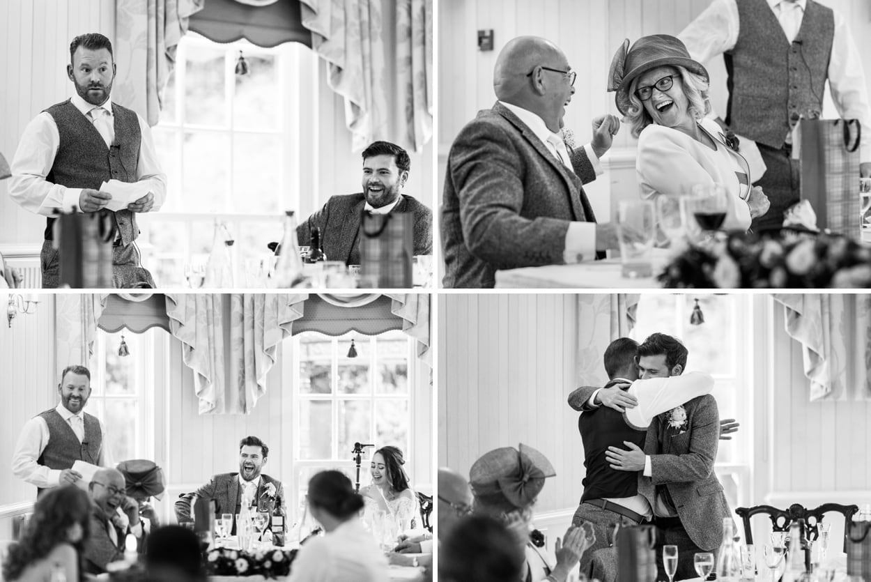 Wedding speeches at De Courceys Manor near Cardiff in South Wales