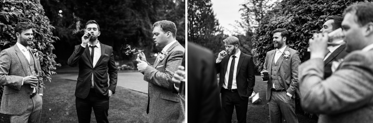 Wedding day cigars at De Courceys Manor near Cardiff in South Wales