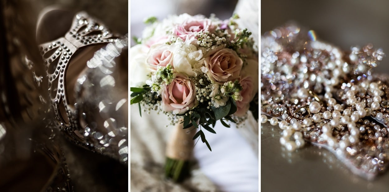 Brides flowers at Wedding at Clearwell Castle