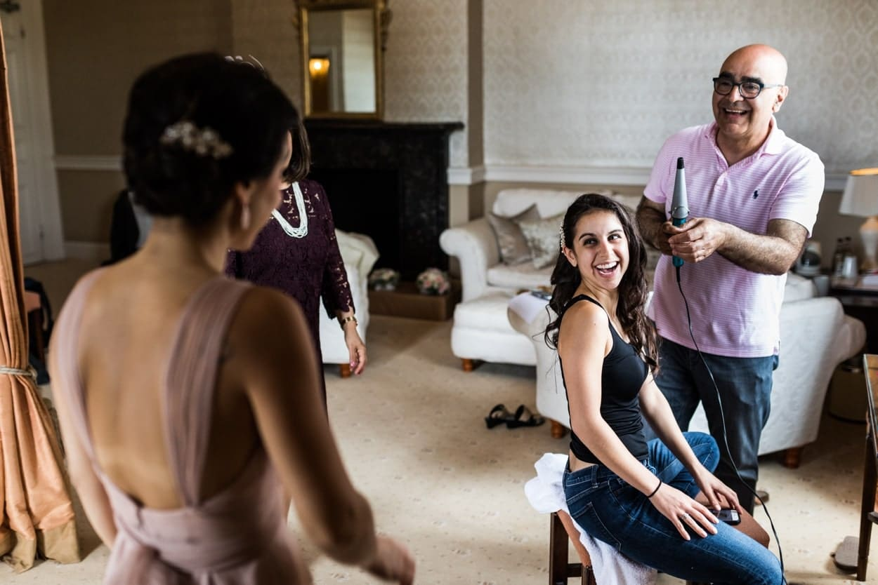 Bridal preparations at a Clearwell Castle wedding