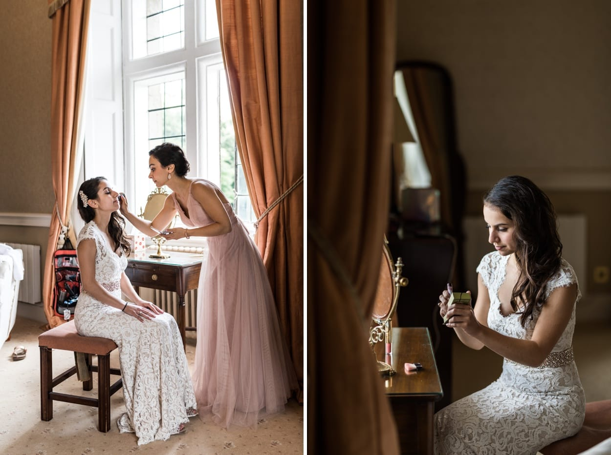 Bridal make up at a Clearwell Castle wedding