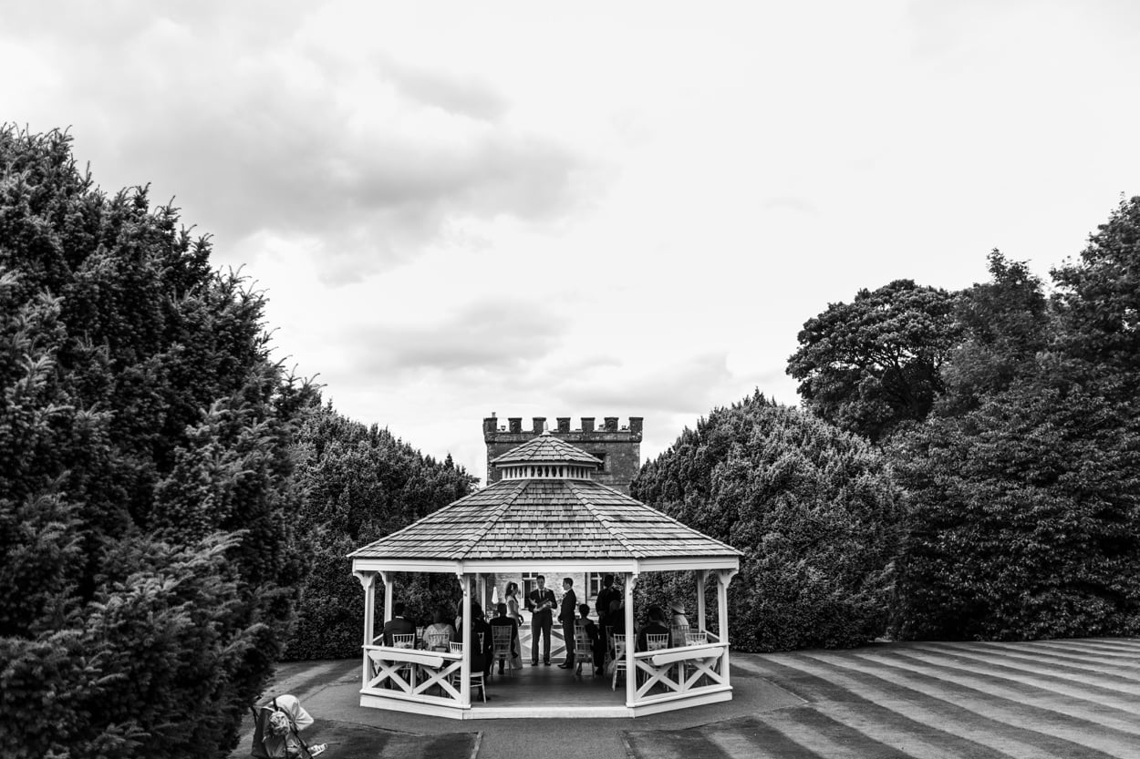 Outdoor wedding ceremony at a Clearwell Castle wedding