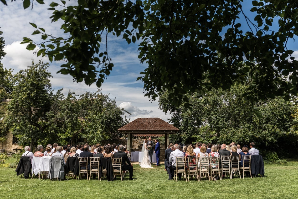 Great Tythe Barn outdor wedding ceremony