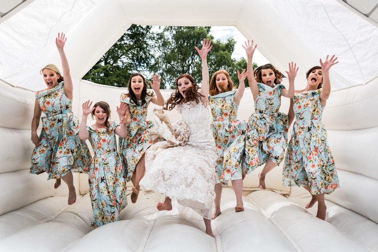 Bride on bouncy castle