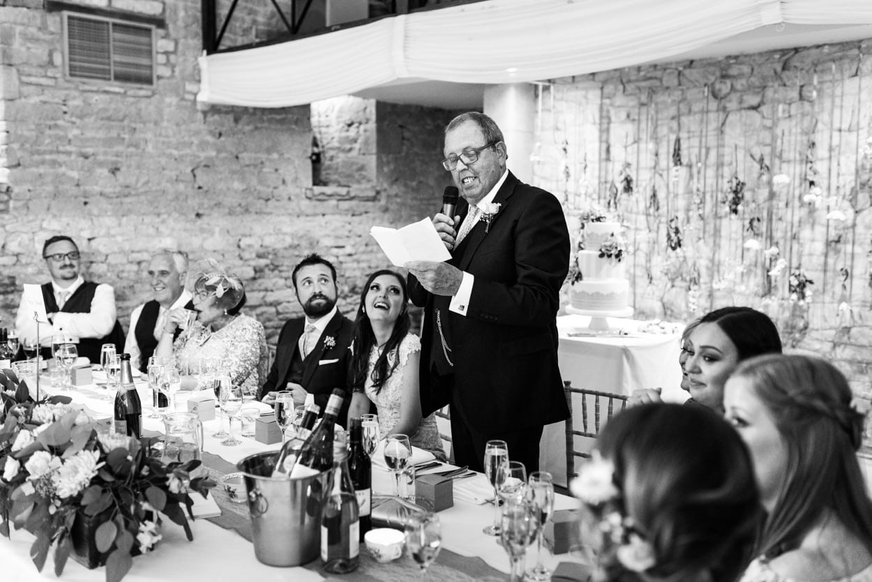 Wedding speeches at Great Tythe Barn