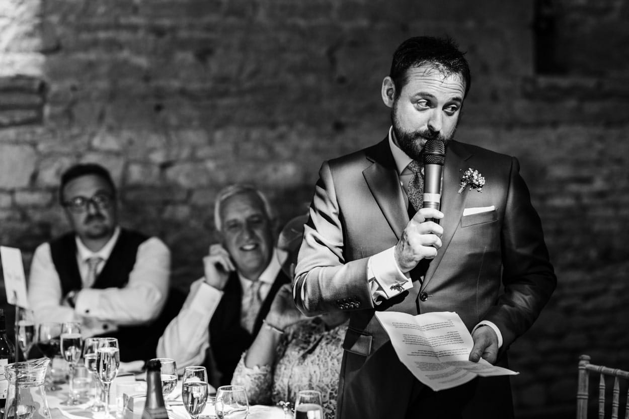 Wedding speeches at Great Tythe Barn