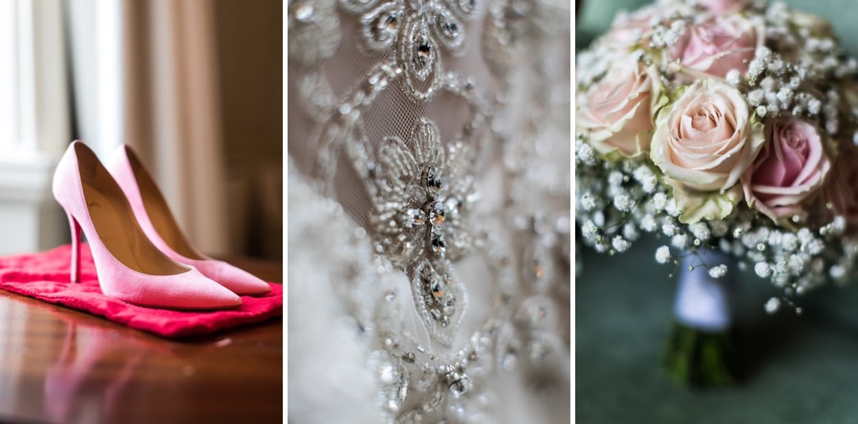 Wedding dress, shoes and flowers at Nanteos