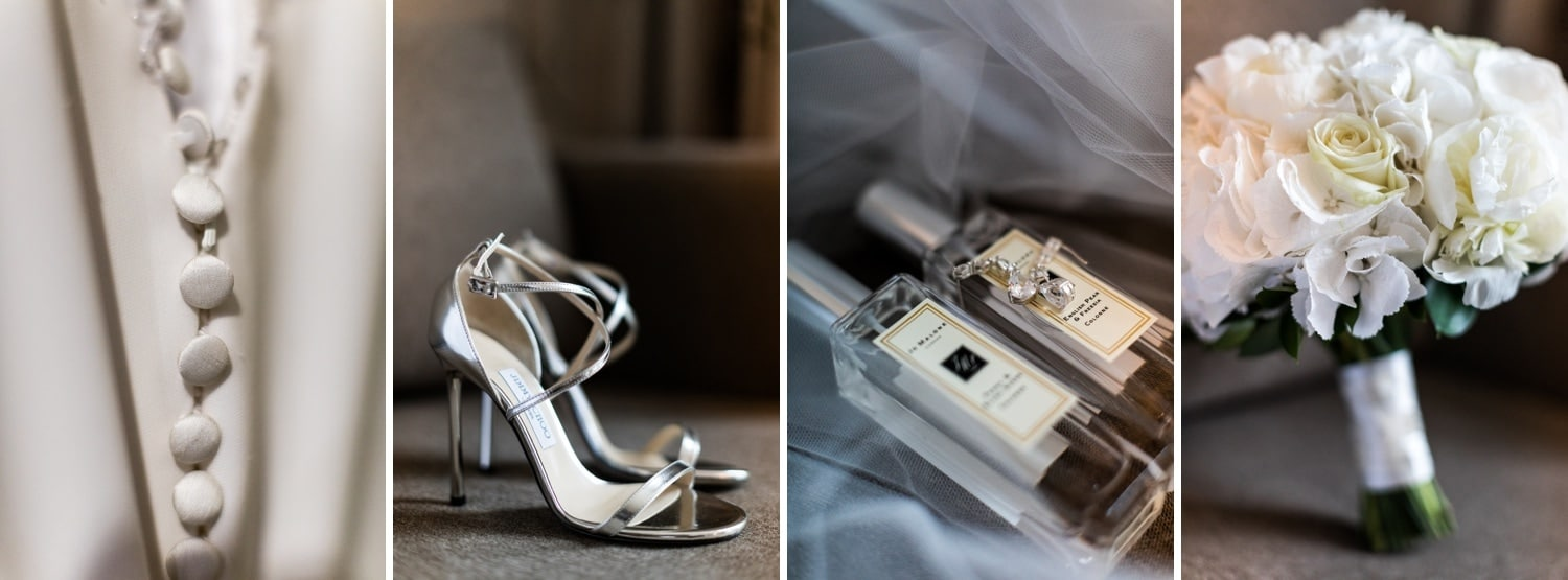 Wedding shoes on a rainy day wedding at Hensol Castle