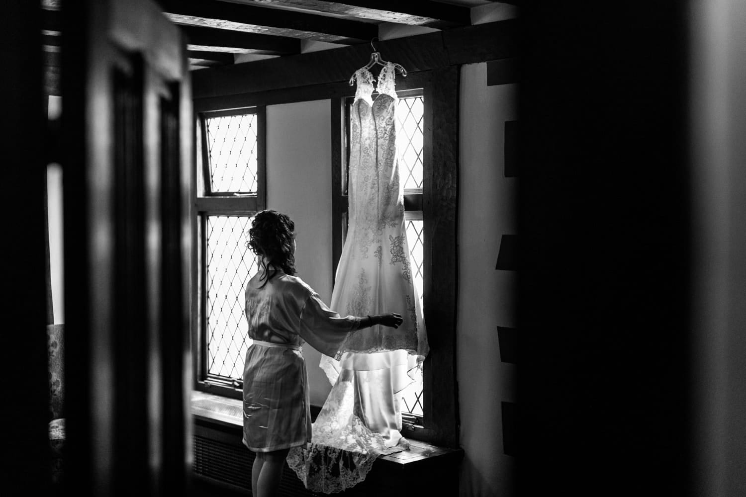 Bride with her dress at Cardiff Castle